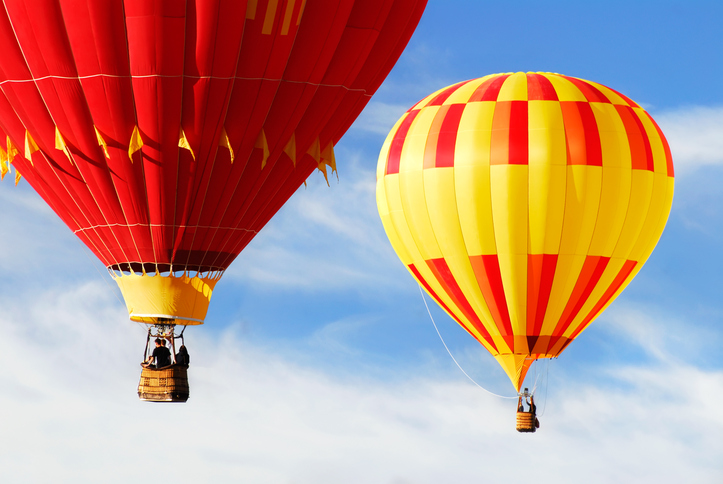 Two colorful hot air balloons